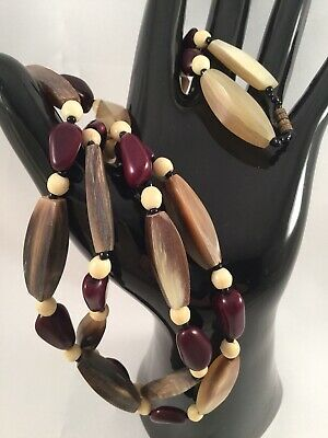 Antique Vintage Art Deco French Carved Polished Buffalo Horn Seed Bead Necklace