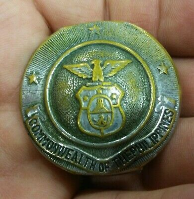 Antique Vintage US Commonwealth of the Philippines Military Belt Buckle