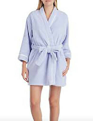 Kate Spade New York Recycled Plush Short Wrap Robe Periwinkle Womens S, M