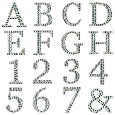 5cm Large Diamante Letters & Numbers Post Box Favour Stick On Self Adhesive