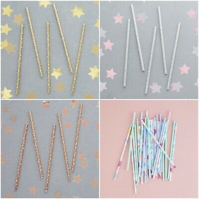 20 x Paper Straws - Christmas Biodegradable Eco Friendly Rose Gold Silver Bride