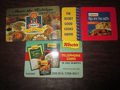 Unused 3 Food Prepaid 1990'S Expired Calling/ Phone Cards:kraft,Knorr, Lipton