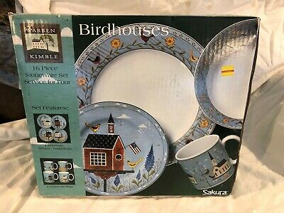 NEW!! Sakura Warren Kimble Birdhouses Dinnerware 16 Pc. Set Salad Plates Mugs