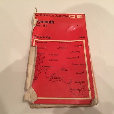 Vintage Ordnance Survey Plymouth England Sheet 187 - Os One-Inch Fold Map Rare