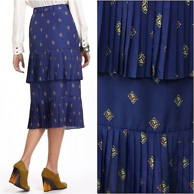 64f565aee3 Plenty By Tracy Reese Anthropologie Pleated Ruffle Layered Midi Skirt Size  10 12