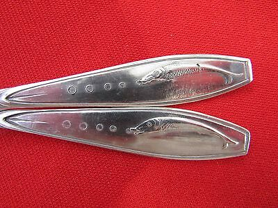 Fish Logo or Emblem Pattern 1 Knives & 1 Fork Nickel Silver By German Manf.