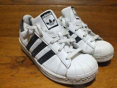 low priced 5c54a be4e1 adidas Originals Superstar White Leather Casual Trainers Shoes Size UK 1 EU  33