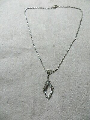 """Antique Edwardian 1900's Sterling Past Stones Crystal Lavaliere Necklace 16"""""""