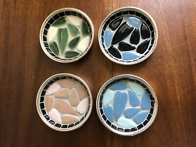Lot of 4 Vintage Modern Art Mosaic Coasters with Leafs - Handcrafted in Japan