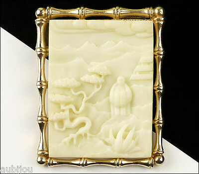VTG ASIAN ORIENTAL WHITE CARVED LUCITE BONSAI TREE BROOCH PENDANT BAMBOO 1960's