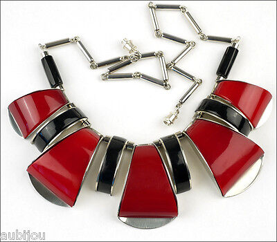 French Designer Art Deco Chrome Red Black Galalith Choker Necklace Bengel Style