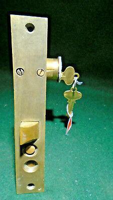 "NORWALK #2411 PUSH BUTTON BRASS ENTRY MORTISE LOCK w/KEYS 7"" FACE (8874)"