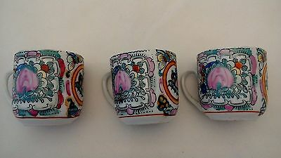 Set of 3 Rose Medallion Hand Painted Demitasse Cups 2.25 x 2.25 Inches Floral