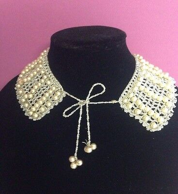 Vintage Silver Crochet and Ivory Glass Pearl Sweater Collar