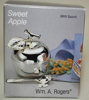 Wm. A. Rogers Sweet Apple with Spoon Silverplate Condiment Container New in Box