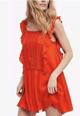 ac6d41704da29 Free People Priscilla Coral Red Crochet Lace Ruffle Trim Mini Shift Dress  Small