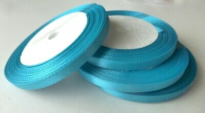 "Ribbon - Turquoise Blue Satin -  6mm 1/4"" wide - 22 metres / 25 yards"