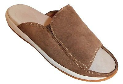 330b516dc483 LANDS END SUEDE Leather Brown Slide Sandals Women s Size 8 HB ...