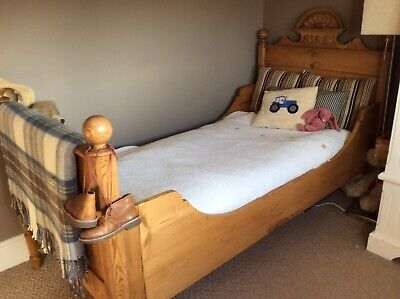 Victorian ANTIQUE PINE SINGLE Sleigh Bed 3ft Childs Bed Can Include Mattress