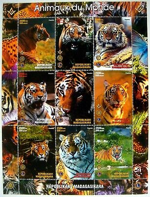 Madagascar Tiger Stamps Sheet Mnh Wild Animal Stamps Wildcat Wildlife Nature