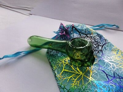"""4"""" Skull Glass Smoking  Pipe Tobacco  Clear Green Color &/Bag Free Ship"""