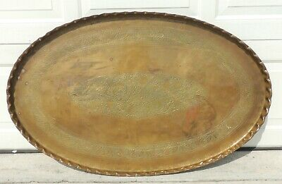 "Large Antique 46"" Oval Persian Islamic Hand Chased Ottoman Brass Tray Table Top"