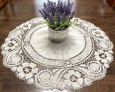 """Vintage White 27"""" Round Doily or Table Topper w/ Handmade Lace Trim (RF928)"""