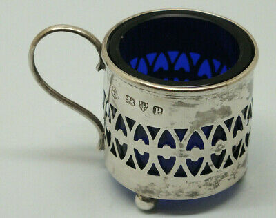 Solid (sterling) silver mustard pot with blue glass liner - Chester P 1898