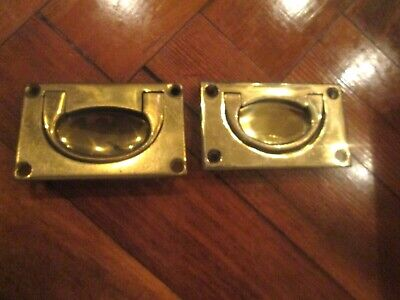 2 Matching Vintage Solid Brass Cabinet Draw Door Handles