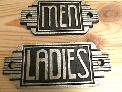 Ladies or Men Toilet Door Sign Art Deco  Cast Iron Antique Silver Finish