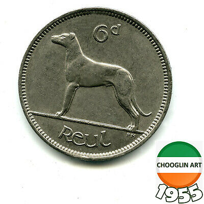 A 1955 Irish Copper-Nickel SIXPENCE coin