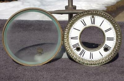 Antique Ansonia Porcelain Open Escapement Dial Nickel Bezel Beveled Glass Nice