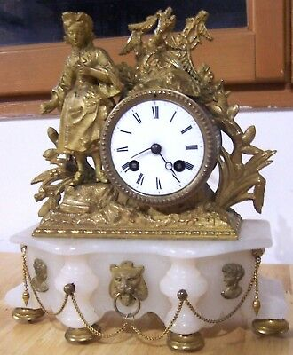 antiqe1900 french  marble clock candelstick Napoleon  III EMPIRE style chimney