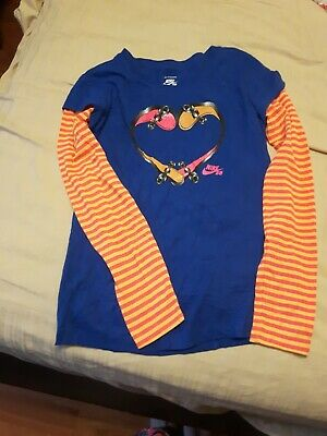 NIKE GIRLS skate Board Shirt Long Sleeve blue /pink and yellow stripes. Large