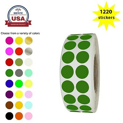 """Round Stickers ~ 5/8"""" Permanent Adhesive 17mm Organizing Dots in Roll 1220 Pack"""