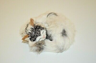"""A Faux Fur Covered Sleeping Kitten, Approximately 5"""" Long"""