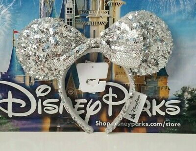 NWT Disney Parks Silver Sequined Minnie Mouse Bow Ears Headband