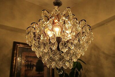 Antique Vnt. French SPIDER Style BOHEMIA  Crystal Chandelier Light 1940's 19 in