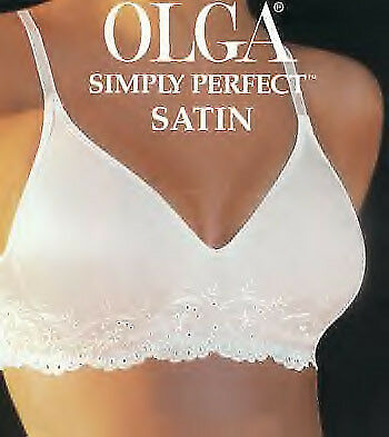 a228d74c462d Vintage New Olga Simply Perfect Satin Full Support Underwire Bra White 34B