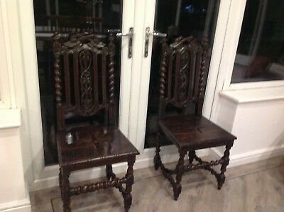 Pair of Matching  Carved Victorian Gothic Throne/ Hall Chairs