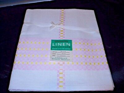 """VINTAGE new old stock GENUINE LINEN YELLOW & PINK TABLECLOTH 52"""" BY 70"""""""