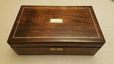 Superb Rosewood Antique writing slope -C19 - two ink bottles, new skiver