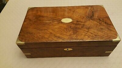 Beautiful Walnut Antique writing slope -C19 - two ink bottles, new skiver
