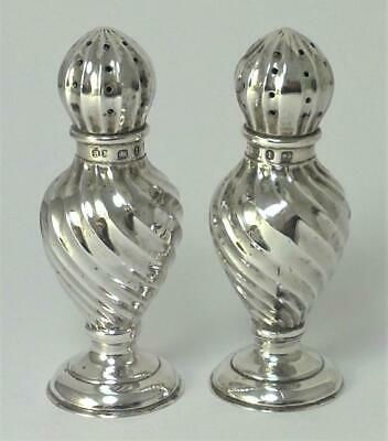 Pair of Victorian hallmarked Sterling Silver Pepper Pots / Shakers – 1893