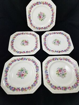 "Set Of 5 George Jones & Sons Crescent Ivory 8 1/2"" Square Plates Dinnerware"