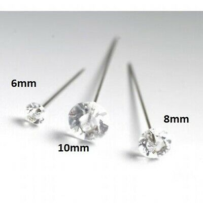 DIAMANTE, DIAMONTE PINS CLEAR ACRYLIC 6mm or 8mm, CHOOSE SZ & QTY