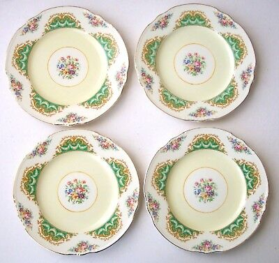 4 MEAKIN LUNCHEON SALAD PLATES AMBASSADOR PATTERN GREEN GOLD w ROSES