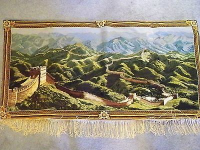 Vintage Needlepoint Wool Tapestry Completed 42'' X 21'' Hangable