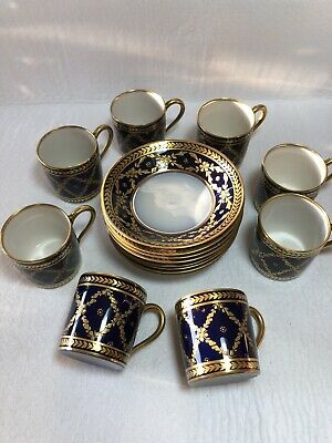 SET 8 Limoges France Cobalt Blue Gold Porcelain Demitasse Cups Saucers R&CO