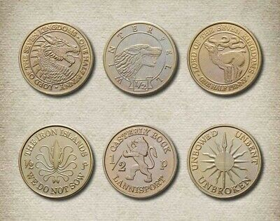 A Game Of Thrones Series Set Of Six Houses Of Westeros - Half-Pennies Coins